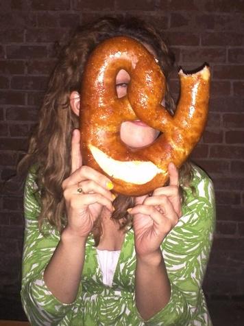 Mongoose Versus Cobra, giant pretzel, friend
