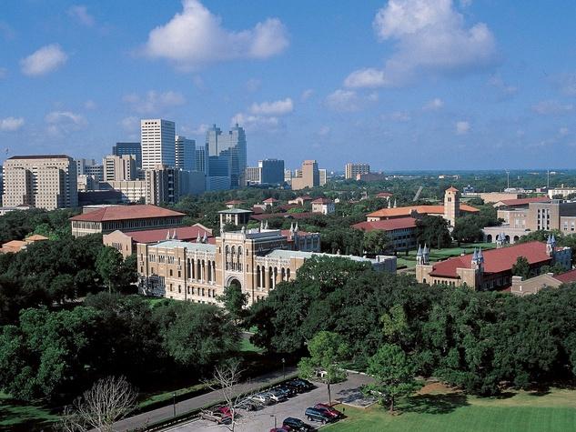 Rice University, aerial, campus, buildings