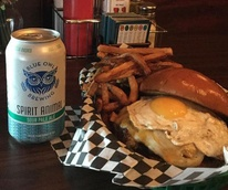 Sputnik burger Blue Owl Brewing