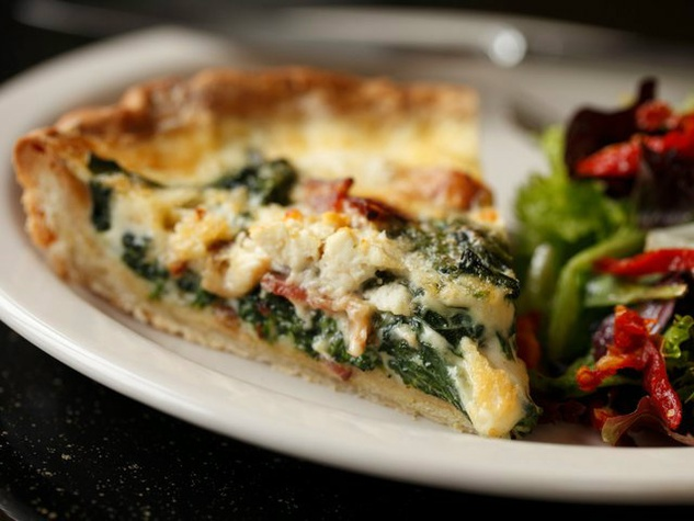 Spinach and goat cheese quiche at Crossroads Diner in Dallas