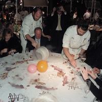 84 Chef Jarrett Joslin with the pan at the Bon Vivant Dinner January 2014