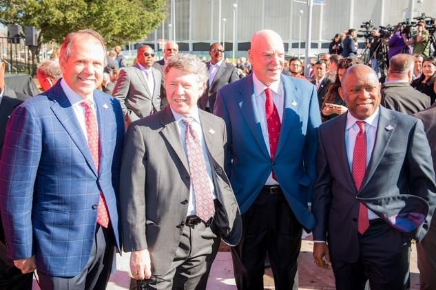 Super Bowl Countdown Clock, Feb. 2016, Ric Campo, Ed Emmett, Bob McNair, Sylvester Turner
