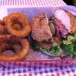 Burger and onion rings at Balls Hamburgers in Dallas