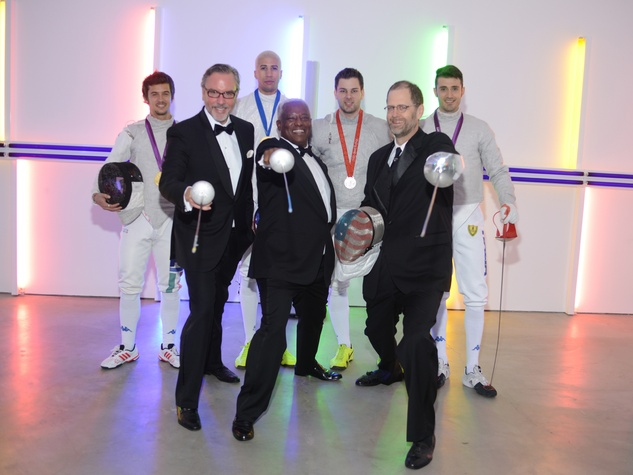 Andrea Baldini, from left, Miles Chamley-Watson, Tim Morehouse, Luigi Samele, Bill Pritchard, Leo Linbeck III and Tony Chase at Men of Menil March 2014