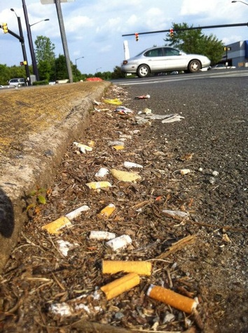 Litter on the side of the road