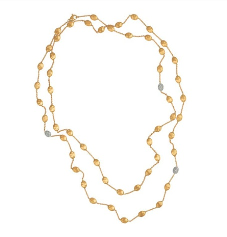 Marco Bicego Gold and Diamond Bean Necklace