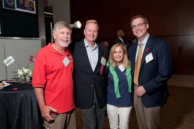 15 Van Lessig, from left, Michael Dulaney, Sandy Lessig and Tim Fischer at the World AIDS Day kick-off October 2014