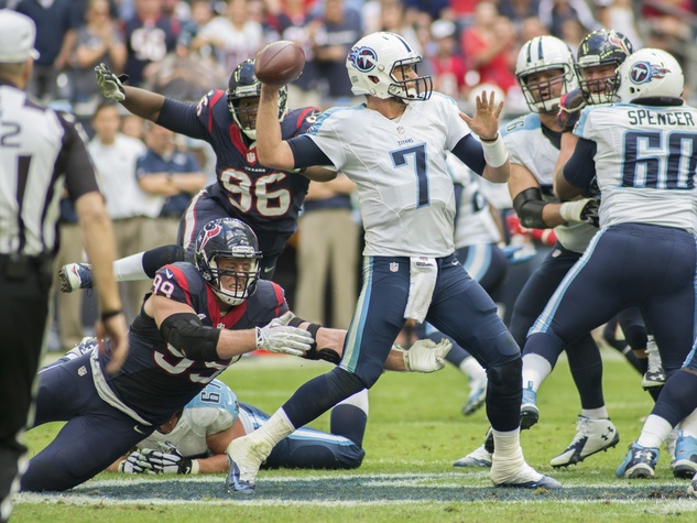 8 Texans vs. Titans first half November 2014 J.J.Watt and Zach Mettenberger