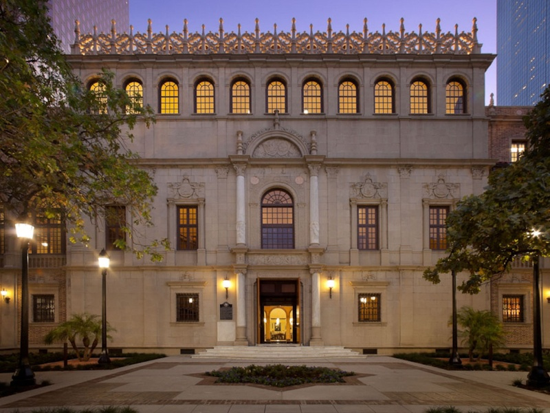 Julia Ideson Library, at night