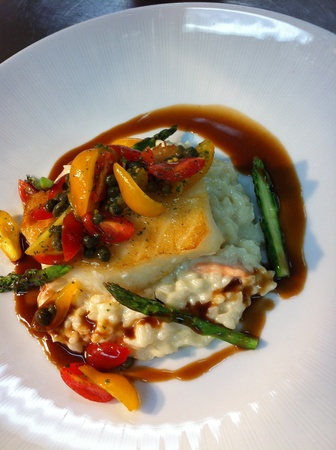 Wedding food trends, February 2013, Seared Sea Bass over Brie & Asiago Risotto, asparagus
