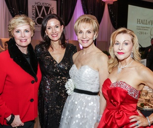 Mary Ann Wilkins, from left, Karen Love, Leisa Holland Nelson and Dana Kervin Clark at the Women's Chamber of Commerce Hall of Fame Gala December 2014