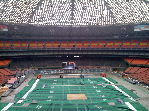 Astrodome interior with Astroturf football field
