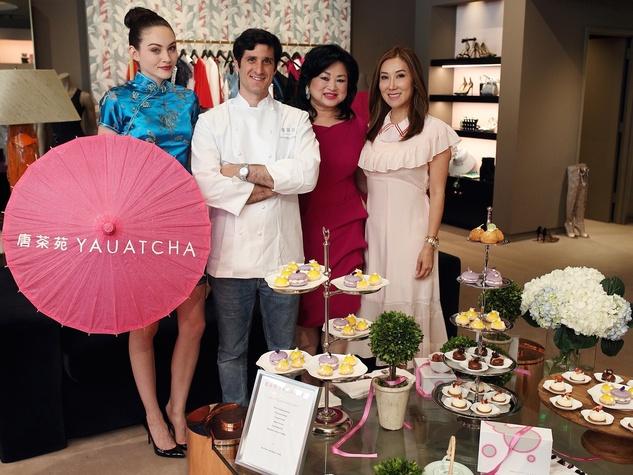 The Webster party Yauatcha umbrella girl, Juan Pablo Colubri, Gigi Huang, Mandy Kao