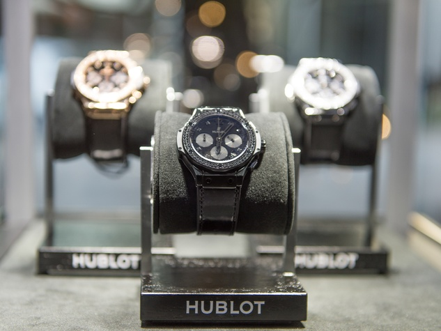 13 Hublot watches on display at the Hublot dinner party at Tony's October 2013