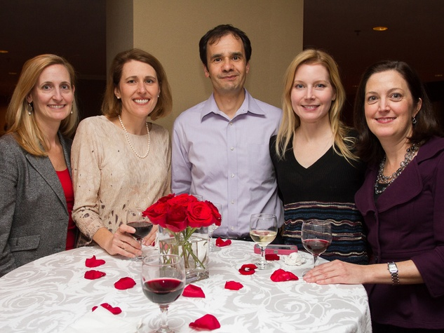 0289 Polly Schott, from left, Jennifer Macia, Vytas and Elaine Petrulis and Kelly Fischer at Houston Friends of Chamber Music Red Violin event March 2014