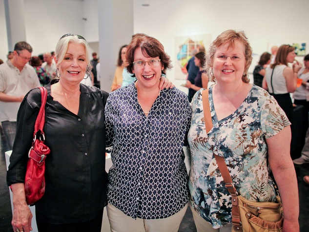 Lawndale Art Center The Big Show VIP reception July 2013 Kearby Roberts, Mary Morrison and Myrle Curry