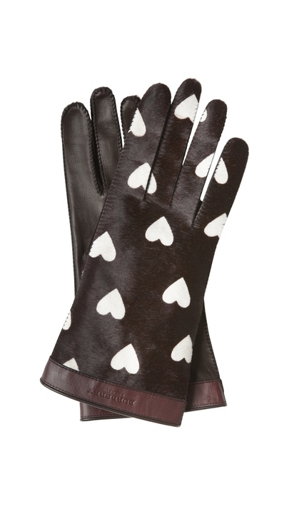 Burberry gloves with heart pattern