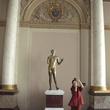 Louvre Paris tour July 2013 woman and statue