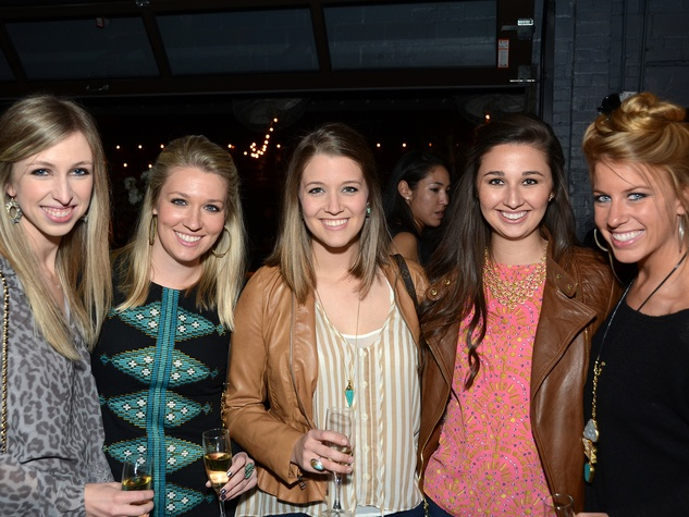 13 76 Caroline Hudnall, from left, Christina Stith, Maricarolyn Stith, Allyson Camp and Presley Bourquein at the American Heart Association Bachelor Party February 2014
