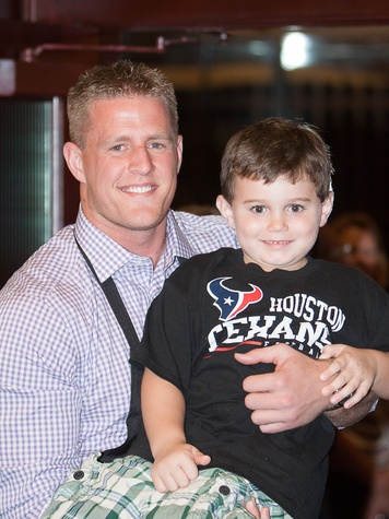 Owen Daniels, celebrity dinner, Houston Texas, September 2012, JJ Watt and fan