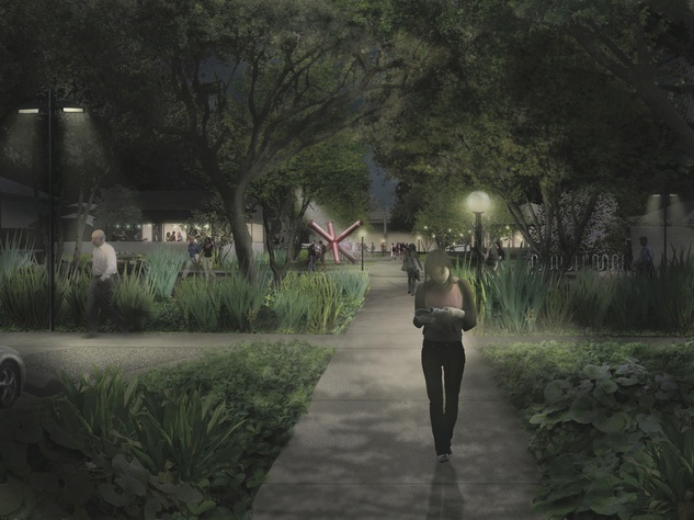 4 The Menil Parking Lot and Cafe rendering October 2013 night