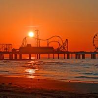 Pleasure Pier, Galveston, sunrise, sunset