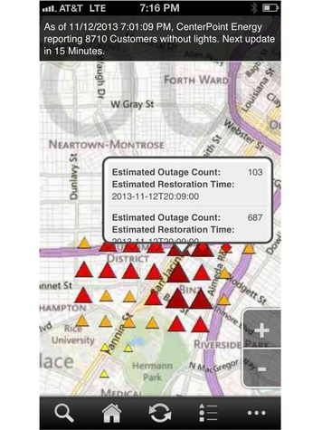 Montrose power outage phone report November 2013