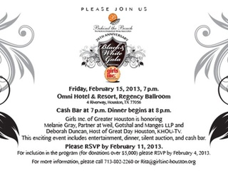 """Behind the Bench's """"Black & White Gala"""" benefiting Girls Inc. of Greater Houston"""