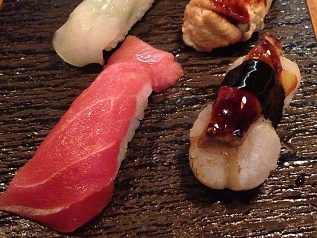 Kata Robata Sushi + Grill ika, anago, scallop foie gras, chu-toro