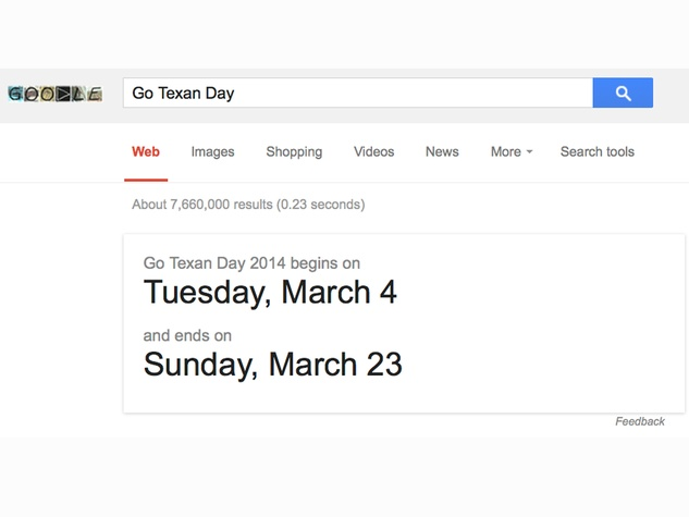 Go Texan Day Google has wrong date February 2014