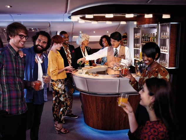 Emirates A380 in Houston December 2014 Onboard Lounge Social