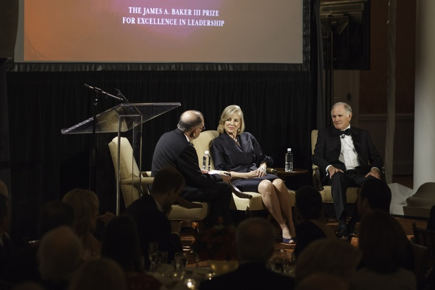 News, Baker Institute dinner, April 2015, James Baker, L.E. Simmons, Ginny Simmons,Ed Djerejian,