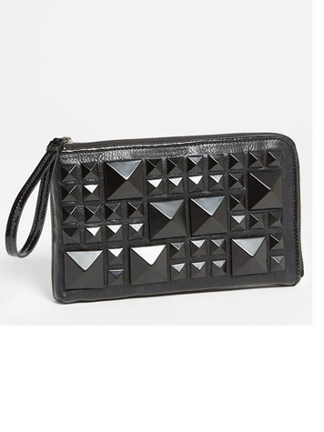 nordstrom POVERTY FLATS by rian Matte Pyramid Stud Zip Clutch