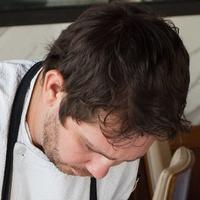 Chef David Coffman plating the Truffle Mushroom Raviolini