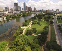 Austin aerial view downtown skyline