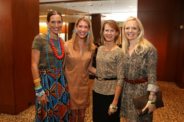Kate Swail, from left, Emily Rommel, Teresa Glenn and Laurence Bragg at the LifeHouse Houston Duck Dynasty dinner September 2014