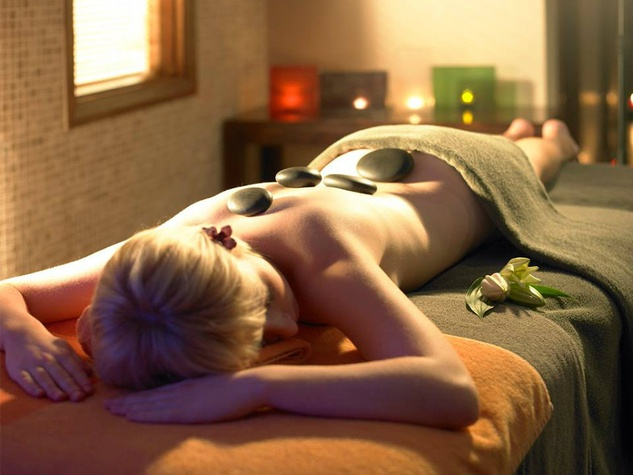 Hot stone massage at V Spa in the Hilton Anatole