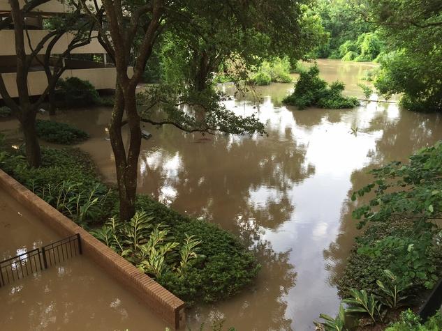 Buffalo Bayou flooding near Memorial Drive