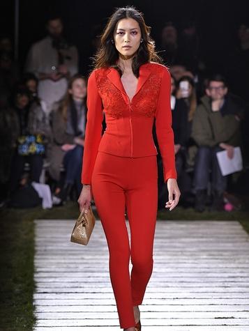 Houston, NYFW La Perla, Feb 2017, tomato red embroidered stretch wool jacket and slacks