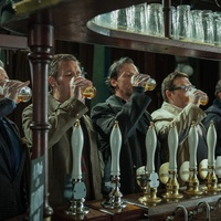 The World's End guys drinking at bar