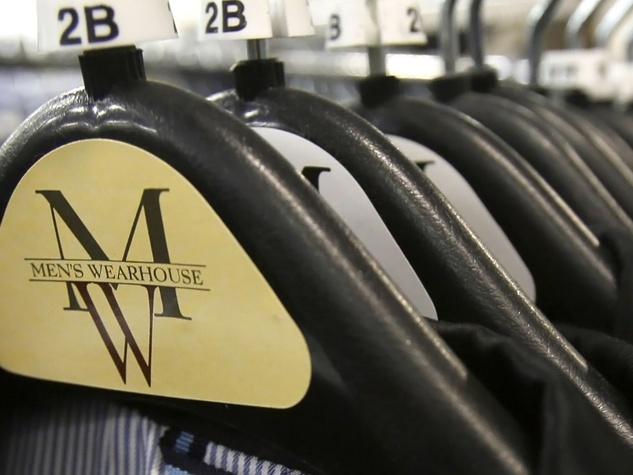 Men's Wearhouse clothes on hangers