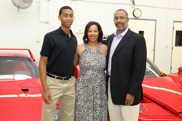 Michael Harrington, from left, with Rene and Dr. Melvyn Harrington at the Joints in Action at Ferrari of Houston June 2014