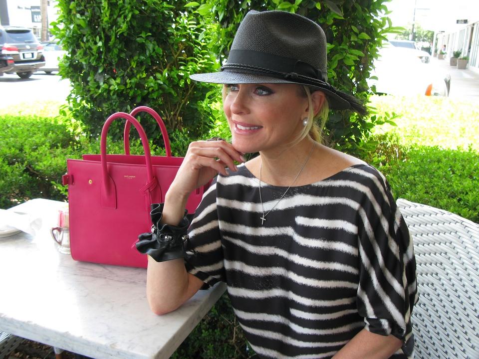 Joyce Echols modeling hat June 2014