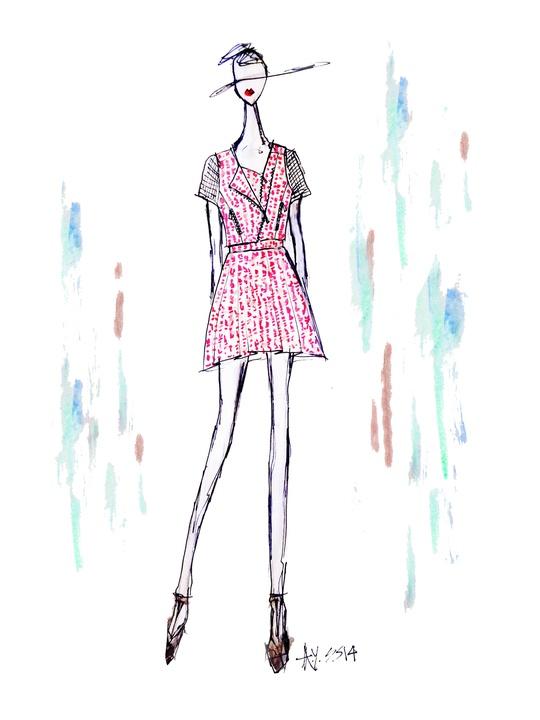 Fashion Week spring summer 2014 Ann Yee sketch tweed