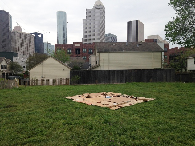 Freedmen's Town Labyrinth January 2015 first step in March 2014 This morning laid down 10% of cardboard needed to smother weeds and grass in preparation for our first work day on April 19. Mark it on your calendar!