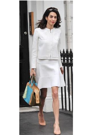 Amal Clooney wearing a Giambattista Vallli suit in London