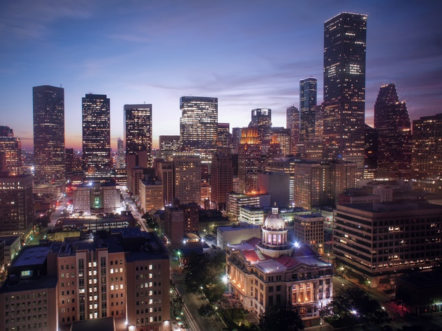 Houston skyline downtown at night