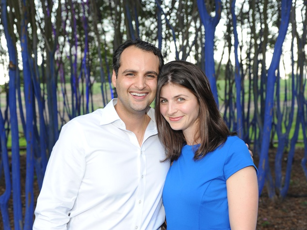 Polidoros Trejos and Paraskevi Saliagas at HAA's Under The Blue Trees Pop-Up Party October 2013