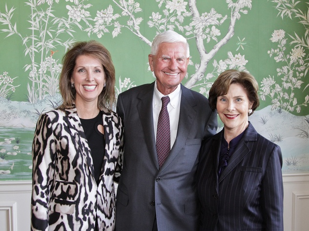 Pennie Johnson, from left, Doug Pitcock and Laura Bush at the Galveston Bay Foundation luncheon