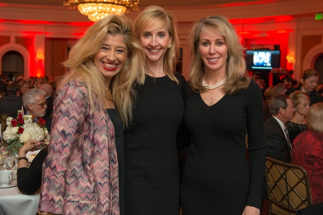 Sofia Adrogue, from left, Tricia Dewhurst and Nancy Brazzil at the Bill Hobby Roast January 2015